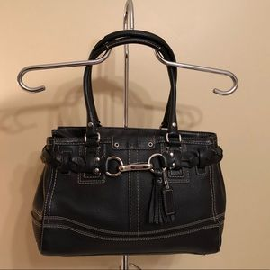 Coach Hampton Braided Black Leather Bag
